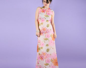 Pink Floral 60s Maxi Gown Dress