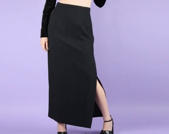 90s Black High Waist LISA HO Maxi Skirt