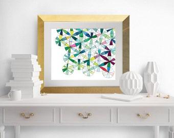 Geometric watercolor  art print 8x10, geometric watercolor, watercolor circles, watercolor pinwheels