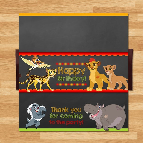 The Lion Guard Candy Wrapper - Chalkboard - The Lion Guard Chocolate Bar Wrapper - The Lion Guard Candy - The Lion Guard Birthday Printables