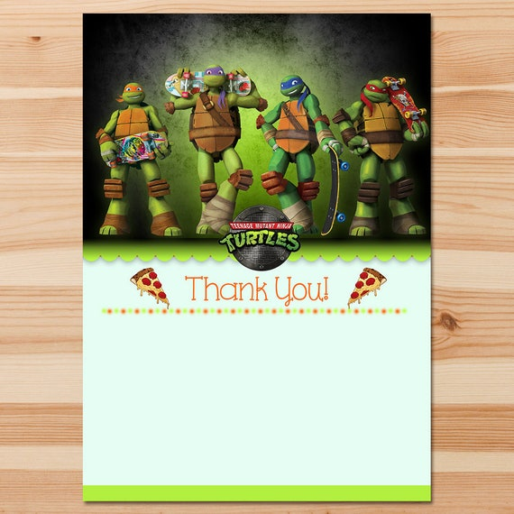 Teenage Mutant Ninja Turtles Birthday Thank You Card - Chalkboard Instant Download - Ninja Turtles Thank You - Ninja Turtles Party - TMNT