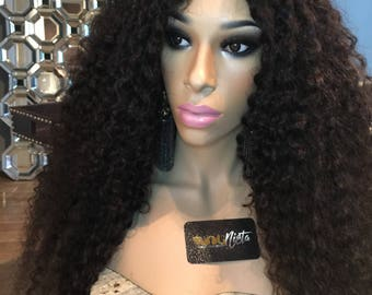 Beautifully USED ONCE Female mannequin wig bust Dark Brown Eyes includes Mongolian wig/hair
