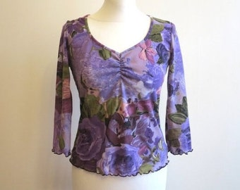 Purple Khaki Violet Floral Print Blouse Jersey Blouse Fitted 3/4 Sleeves Stretchy Top Medium Size