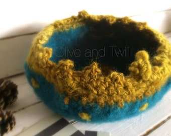 Felted bowl, Turqoise and Gold Felted Pod, Vase