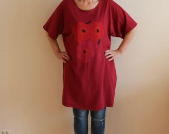 MARIMEKKO  Tunic Burgundy Shirt Short Sleeves Women's Blouse Cotton Jersey  Mini Dress Large Size