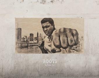 Muhammad Ali - Punch / / Transfer on wood