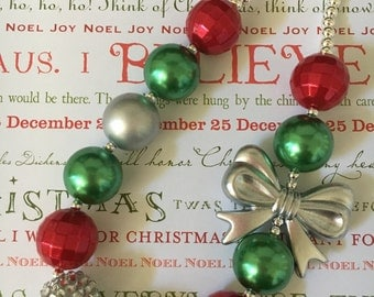 Christmas Red, Green and Silver with Bow Bubblegum Chunky Necklace