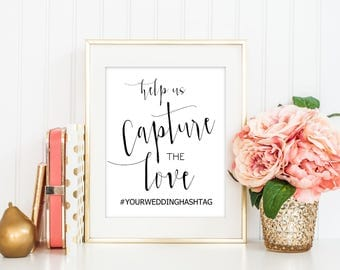 SALE Hashtag sign, Instagram sign, social media sign, Help us capture the love, Editable template, Wedding Sign Printable, Reception Sign