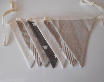 Garland 7 pennants ecru beige cotton
