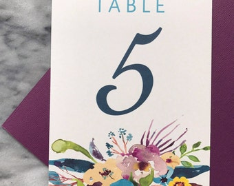 Floral Table Numbers, Wedding Decor and Details (watercolor)