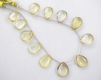 """Beautiful Natural Lemon Quartz Plain Smooth Pear Shape Beads - Lemon Quartz Briolette , 10x15 - 12x16 mm , 8"""" , BL1111"""