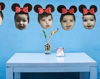 Minnie Mouse Custom Birthday Face Garland Banner