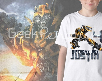 Bumble Bee Transformers Personalized Birthday Party T Shirt Tee Boys Girls