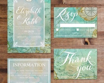Travel Wedding Invitation Suite (Printable)