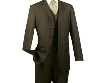 Classic-fit men's suit 3 piece suit 3 bottons solid olive suits new with tag