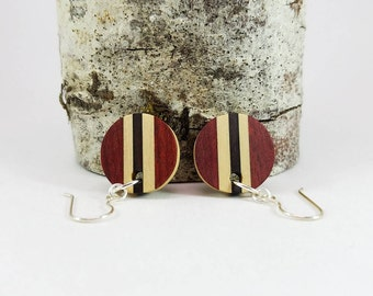Wood Dangle Earrings, Round Vertical Stripe