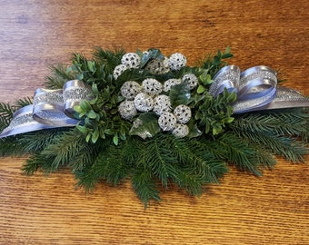Christmas Centerpiece Holiday Faux Greenery Silver Sweet Gum Nuts Faux Greenery Low Arrangement Hostess Gift Party Arrangement free Shipping