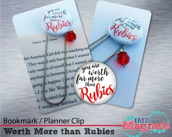 Proverbs 31:10 Bookmark / Planner Clip / Jumbo Paper Clip with Charm - Stocking Stuffer - You Are Worth Far More Than Rubies