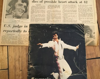 Vintage Elvis Newspaper ,  Elvis Souvenir Folio Concert Edition Vol 6 , Courier Journal , 1977 , Elvis Death Announcement , Elvis Presley