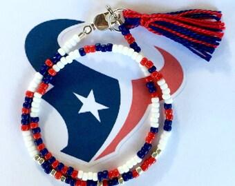 Houston Texans Bracelet, Football Game Day Bracelet, Beaded Wrap Bracelet with Tassel, Morse Code, Steel Blue, Red and White Bracelet