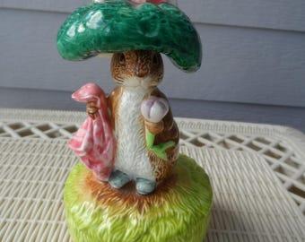 CLEARANCE Vintage Beatrix Potter Schmid Benjamin Bunny Music Box  Collectible, Baby Gift, Nursery Decor  1189