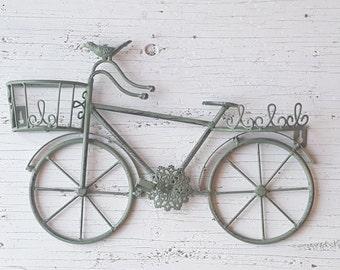 Bicycle Wall Art /  Bicycle Shelf Wall Art / Shabby Chic Wall Art / Bicycle Wall Decor / Shabby Chic wall decor / Metal Bicycle