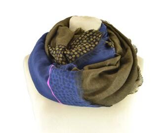 Spotted Snood blue - Woman's scarf - La Tribu des Oiseaux