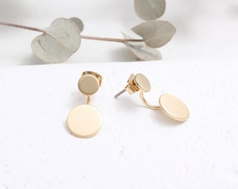 Double Circle Front and Back Stud Earrings/ Circle Drop Ear Jackets
