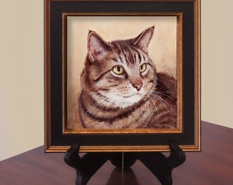 Custom Cat Pet Portrait Realism Oil Miniature Painting Commission Gift  6x6 Framed Free Shipping