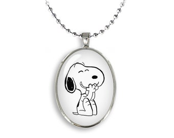 Snoopy Oval Pendant Snoopy Necklace Snoopy Jewelry Cosplay Fangirl Fanboy