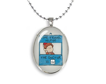 Peanuts Doctor Who Oval Pendant Time Travel Help Necklace Snoopy Jewelry Cosplay Fangirl Fanboy