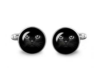 Black Cat Cuff Links 16mm Cufflinks Gift for Men Groomsmen Novelty Cuff links Fandom Jewelry
