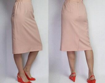 Pale Peach Pink Skirt Pencil Skirt Midi Skirt Women's Wool Skirt Vintage Skirt Retro Skirt Secretary Skirt Medium Size