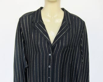 CHANEL Vintage 1970's 1980's silk blouse shirt / / black and gold