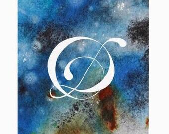 San Serif type Space watercolour