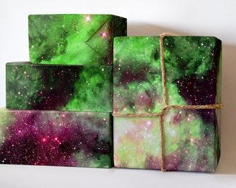 Green Nebula Wrapping Paper; Nebula Gift Wrapping; Nebula Wrapping Paper; Gift Wrapping; Wrapping Paper; Galactic Wrapping Paper