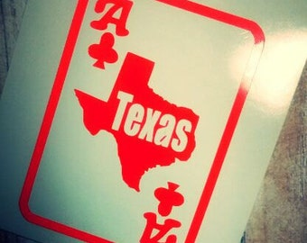 Texas Decal/ Texas Sticker/ ACE/ Ace of clubs TEXAS/ Glitter Decal/ Glitter Monograms/ Texas YETI Decal/Teas holdom /