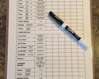 """Double sided laminated Yardzee scorecard with clipboard and low odor dry erase marker - 8.5"""" x 11"""""""