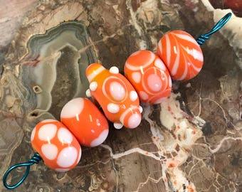 Lampwork Glass Bead Set (5 Beads) by Robert Croft