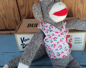 New Hand Made Classic Sock Monkey, Red Heel Sock Monkey Doll, Stuffed Monkey, 1990's