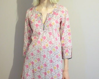 Vintage Anokhi Indian Block Print Cotton Pink Floral Kafta Tunic - Small