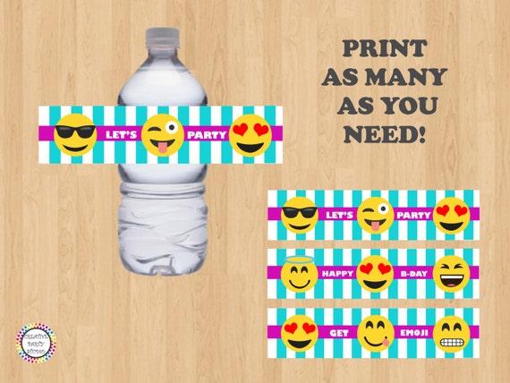 Printable Emoji Water Bottle Labels/ Label/