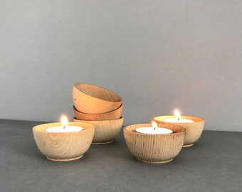 Six Wood Tea Light Holders|Small Wood Bowls|Tealight Holder|Candle Holder|Ring Holder|Jewelry Dish|Salt Pepper Cellars|Zen Decor|Hygge Decor