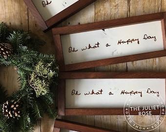 Set of 3 Custom Framed Handwriting Signs, Shelf Display, Wall Decor, Sentimental Gift, Memories, Handwriting, Personalized, Unique, Custom