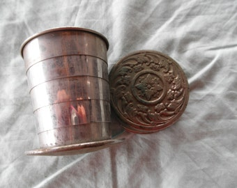 Vintage Collapsible Cup  1800's pat date Ornate Flower Design Collectible Silver Plate