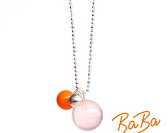Long silver necklace with Rose Quartz and glass ball