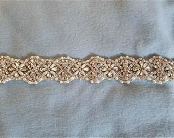 Wedding Bridal Sash Belt, CRYSTAL Pearl Wedding Sash Belt