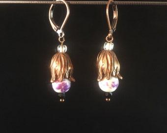 Purple Flower Drops - Leverback Earrings