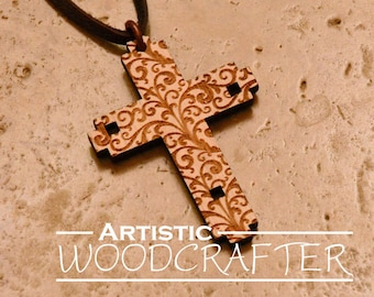 Engraved Wooden Cross Necklace (Bamboo)