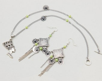 "Set Ethnic Jewelery Earrings and Necklace Long Egyptian Pendant ""Egypt"" Silver Green and Black"